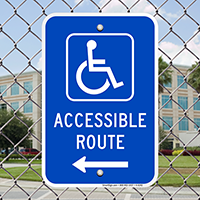 Accessible Handicap Route Signs with Left Arrow