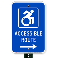Accessible Route Signs (with Right Arrow) (with Graphic)