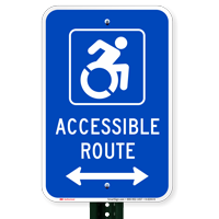 Accessible Route Signs (Bidirectional Arrow) (with Graphic)
