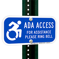 For Assistance Ring Bell, Updated ADA Access Signs
