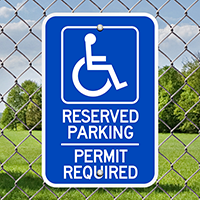 Reserved Parking Permit Required (handicapped symbol) Signs