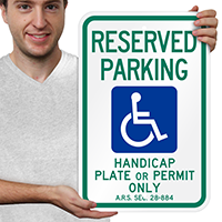 Reserved Parking Handicap Plate Signs
