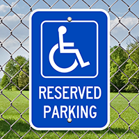 Reserved Parking (handicapped symbol) (blue) Signs