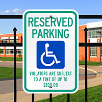 Reserved Parking Violators Handicapped Signs