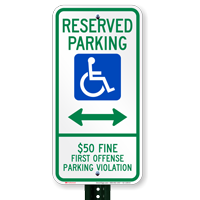 Alabama Reserved Accessible Parking Signs, Left Arrow