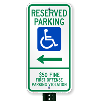 Alabama Reserved Accessible Parking Signs, Right Arrow