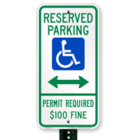 Delaware Bidirectional Reserved Accessible Parking Signs