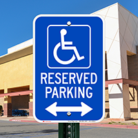 Michigan Reserved Accessible Parking Signs, Left Arrow