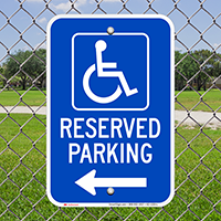 Michigan Reserved Accessible Parking Signs, Right Arrow