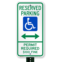 Montana Bidirectional Reserved ADA Parking Signs