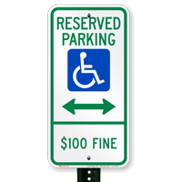 North Dakota Reserved ADA Parking Signs, Left Arrow