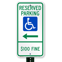 North Dakota Reserved ADA Parking Signs, Right Arrow