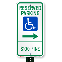 North Dakota Bidirectional Reserved ADA Parking Signs
