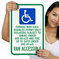 Oregon D.M.V. Disabled Permit Parking Only Signs