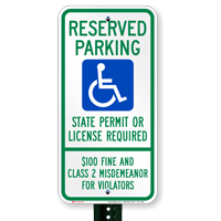 South Dakota Reserved ADA Parking, Permit Required Signs