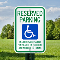 Tennessee Reserved Accessible Parking Signs