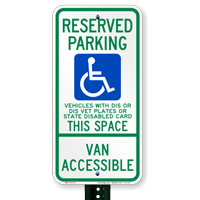 Wisconsin Reserved Parking, Van Accessible Signs