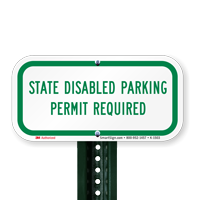 State Disabled Parking Permit Required Sign