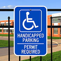 Handicapped Parking Permit Required Signs