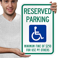Reserved Parking Minimum Fine Signs