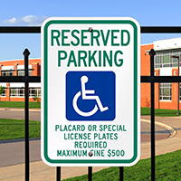 Reserved Parking Placard Handicapped Signs