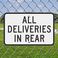 ALL DELIVERIES IN REAR Signs