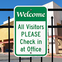 All Visitors Please Check In Signs