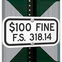 $100 Fine ADA Handicapped Signs