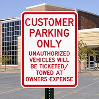 Customer Parking only Unauthorized Vehicles Towed Signs