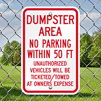 Dumpster Area Parking Vehicles Towed Signs