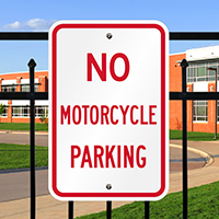 NO MOTORCYCLE PARKING Aluminum Parking Signs