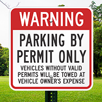 Permit Parking Residents Vehicles Towed Signs