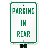 Parking in Rear Lot Sign