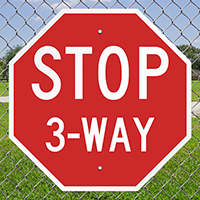 Stop 3-Way 24 in. x 24 in. Reflective Aluminum Signs