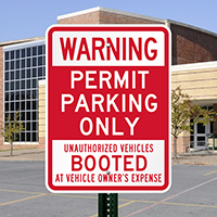 Parking Permit Unauthorized Vehicles Booted Signs