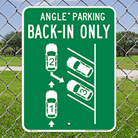 Angle Parking Back In Only Sign