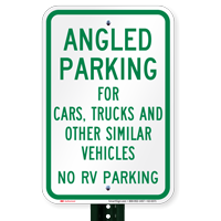 Angled Parking No RV Parking Signs