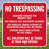 AsSignsed Parking For Tenants Only Signs