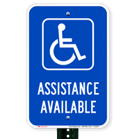 Assistance Available With Handicap Symbol Ada Signs