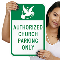 Authorized Church Parking Only with Graphic Signs