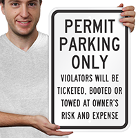 Permit Parking Only Violators Ticketed Signs