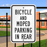 Bicycle And Moped Parking In Rear Signs