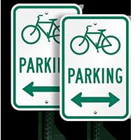 Bicycle (Symbol) Parking (bidirectional arrow) Aluminum Signs