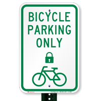 Bicycle Parking Only Signs with Lock Symbol