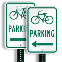 Bicycle (Symbol) Parking (left arrow) Aluminum Signs