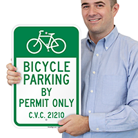 Bicycle Parking By Permit Only Signs