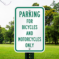 Bicycles And Motorcycles Only Reserved Parking Signs