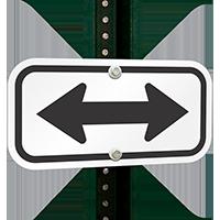 Bidirectional Arrow (black) Aluminum Tow Away Signs