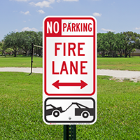 Bidirectional Fire Lane, No Parking Signs