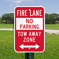 Bidirectional Fire Lane, Tow-Away Zone Signs